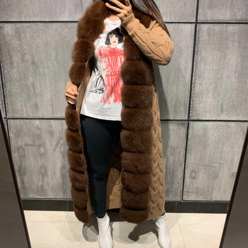 Меховой свитер из лисьего меха длинный кардиган из меха лисы длиной 120-125 см