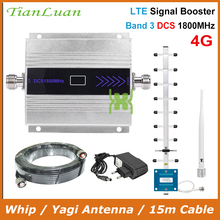 TianLuan LCD Display Mini Mobile Phone DCS Signal Booster 2G 4G LTE 1800MHz Signal Repeater with Whip / Yagi Antenna / 15m Cable
