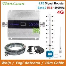 TianLuan lcd ekran Mini Cep Telefonu DCS Sinyal Güçlendirici 2G 4G LTE 1800MHz Sinyal Tekrarlayıcı ile Kırbaç/ yagi Anten/15 m Kablo