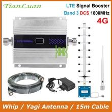 TianLuan wyświetlacz LCD Mini telefon komórkowy wzmacniacz sygnału DCS 2G 4G LTE 1800MHz regenerator sygnału z biczem/antena yagi/15 m kabel