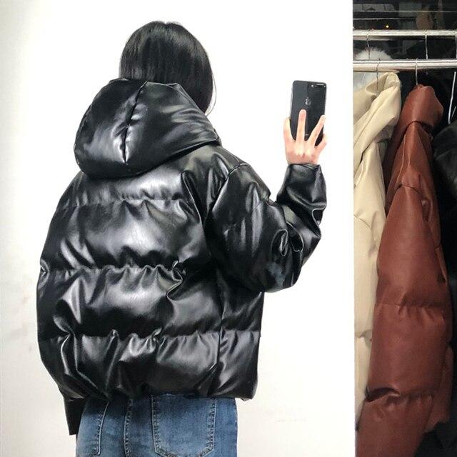 Fandy Lokar Zipper Short Parkas Women Fashion Pockets PU Leather Coats Women Elegant Winter Hooded Cotton Jackets Female Ladies 6