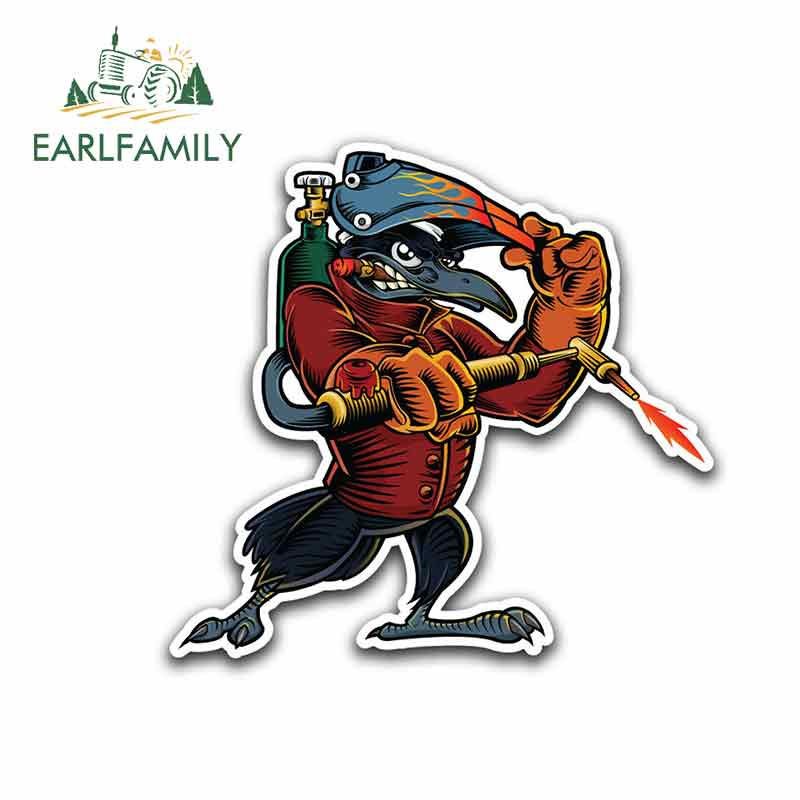 EARLFAMILY 13cm X 12.2cm For Welder Helmet Bird Personality Creative Stickers Vinyl Car Sticker Car Accessories Car Decoration