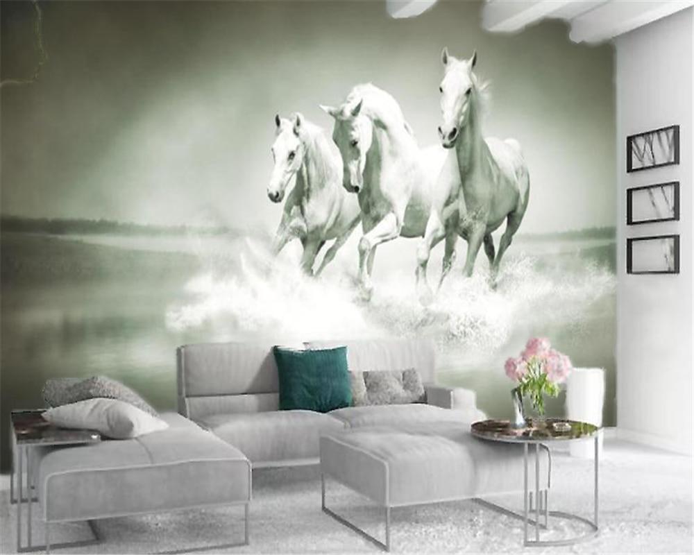 Custom Photo 3d Wallpaper Three White Horses Running Room Living