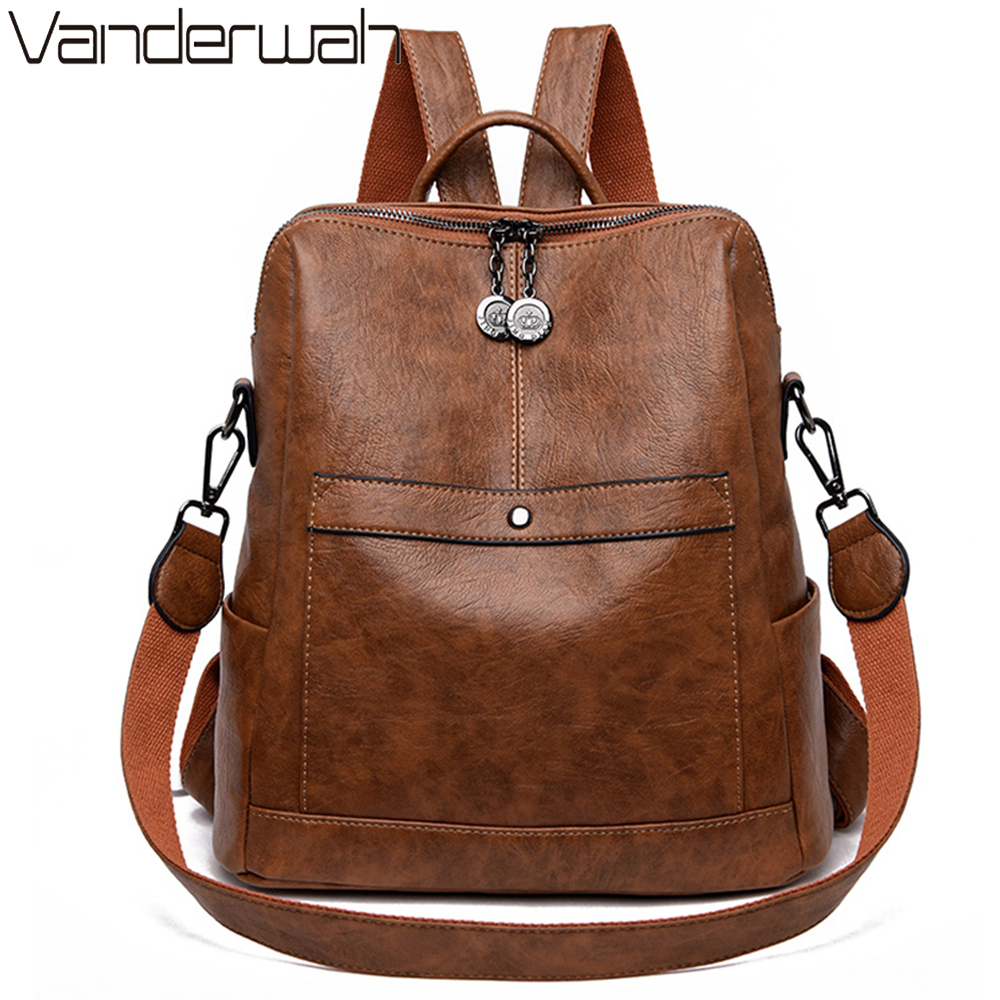 3-in-1 Female Leather Backpack Women Shoulder Bag Zipper Bagpack Travel Back Pack Large Capacity School Bag Mochila Sac A Dos