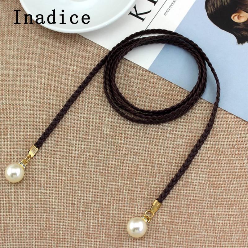 Inadice Multi-color Fashion Sweet Simple Style Dress Thin Waist Rope Pearl Woven Belt For Women Accessories