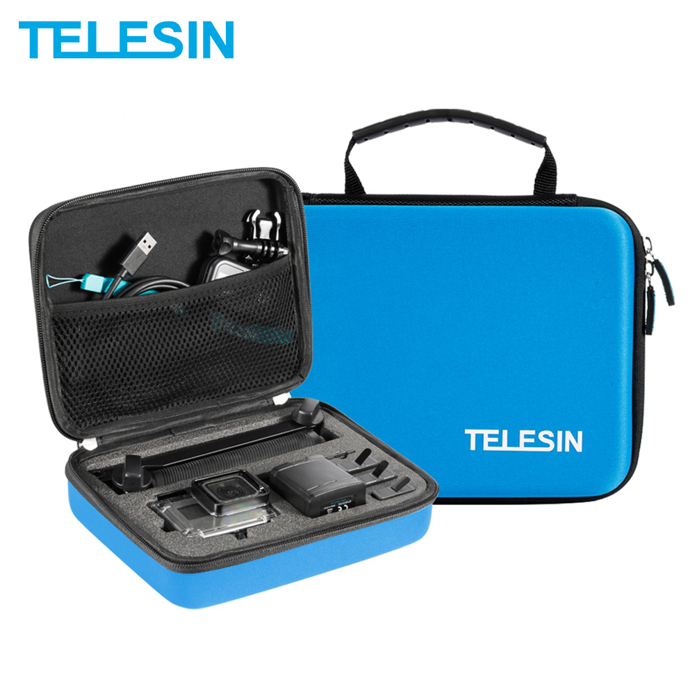 TELESIN Medium Blue Portable Storage Bag Box Traveling Carry Case Case For GoPro Hero 7 6 5 4 3+ 3 2 Xiaomi YI 4K EKEN SJCAM