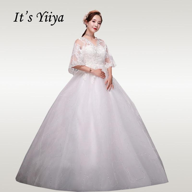 It's YiiYa Wedding Dresses 2020 Embroidery Lace Wedding Dress For Pregnant Women Plus Size Half Sleeve Vestido De Novia XXN247