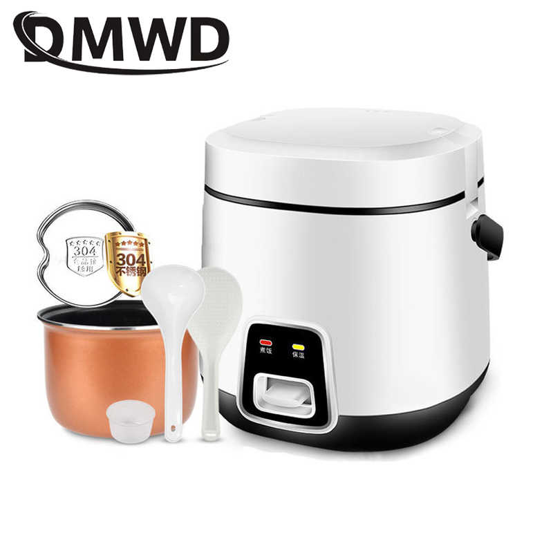 DMWD 1.2L Mini elektryczne urządzenie do gotowania ryżu 2 warstwy ogrzewanie parowar wielofunkcyjny posiłek garnek do gotowania 1-2 osób pudełko na Lunch ue wtyczka amerykańska
