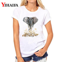 цены на Women T-shirt 3D Print Stylish Elephant Graphic Tee Casual Lady Summer White T shirts Hip Hop Unisex Short Sleeve Tops  в интернет-магазинах