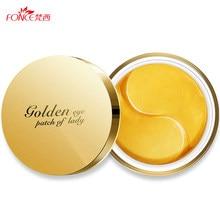Fonce 24K złoty kryształ kolagen żel płatki pod oczy 60 sztuk maska do spania Remover zmarszczek Anti Age Eyebag leczenie ciemne koła
