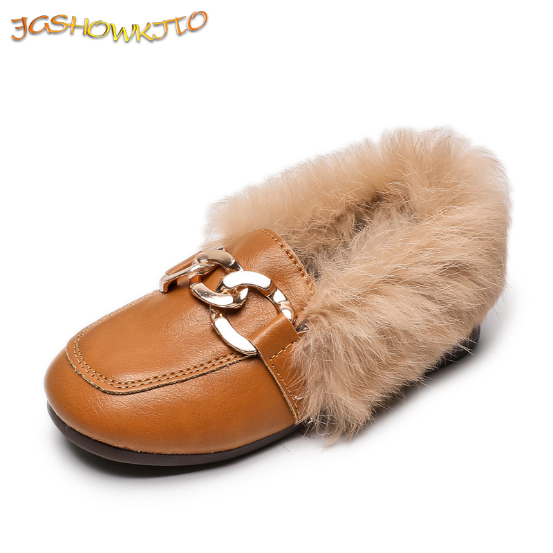 JGSHOWKITO Kids Leather Shoes 2019 Autumn Winter Girls Flats With Thick Cotton Warm Children Boy Black Loafers Fashion Hairy Fur