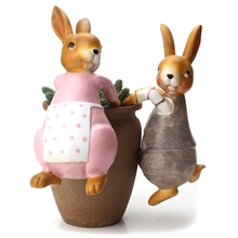 Creative Cute Climbing Rabbit Bonsai Decorative Ornament Hang Outdoor Garden Flowerpot Fence Decor for Home Desk Decor