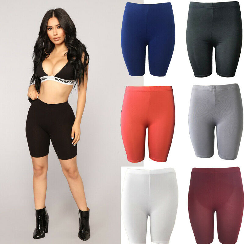 Women Basic Solid Stretchy Yoga Shorts Sports Biker Gym Short Leggings Lady Plain Skinny Fit Knee Length High Waist Shorts