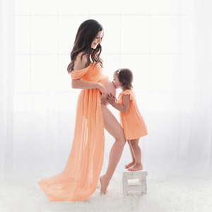 Image 3 - 2020 Fashion Maternity Dress For Photography Sexy Front Split Pregnancy Dresses For Women Maxi Maternity Gown Photo Shoots Props