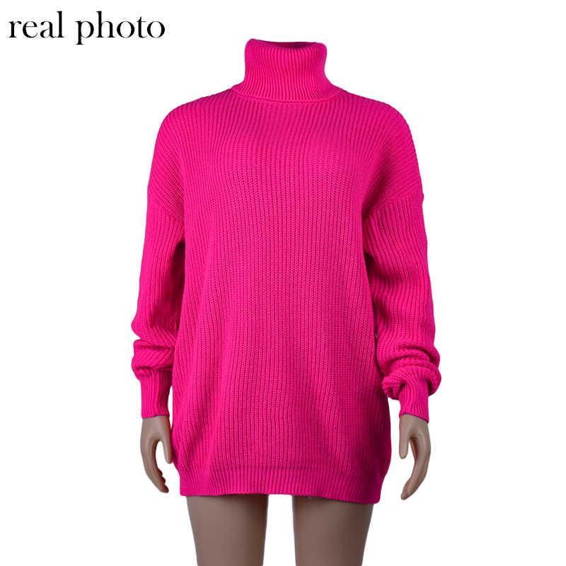 Simenual 니트 터틀넥 가을 겨울 스웨터 여성 네온 컬러 긴 소매 점퍼 패션 2019 캐주얼 기본 슬림 풀오버