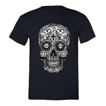 Camiseta para hombre con calavera de azúcar Día de Los Muertos negro mexicano gótico Dia Los Muertos Camiseta holgada tamaño Top Ajax divertida camiseta camisa