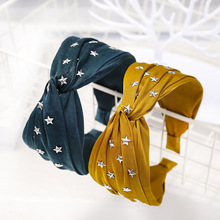 Fashion Style Women Cross Hairband With Metal Star Stamping Knotted Headband Wide Turban Hair Accessories