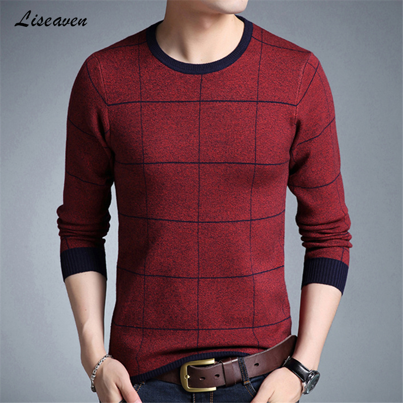 Liseaven 2019 New Pullover Sweaters Men's Casual Knitted Thick Sweater Men Masculino Clothing Mens Full Sleeve Pullovers