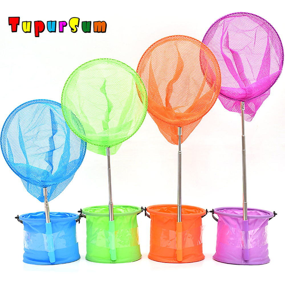 1Set 85 Cm Fishing Butterfly Nets Stainless Telescoping Foldable Landing Net Pole Casting Network Trap Fishing Nets Child Toys