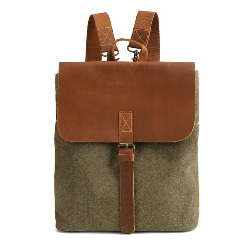 M368 European And American 5 Colors Canvas Backpack Women 2019 New Arrive Retro Crazy Horse Leather Backpack Computer Backpack