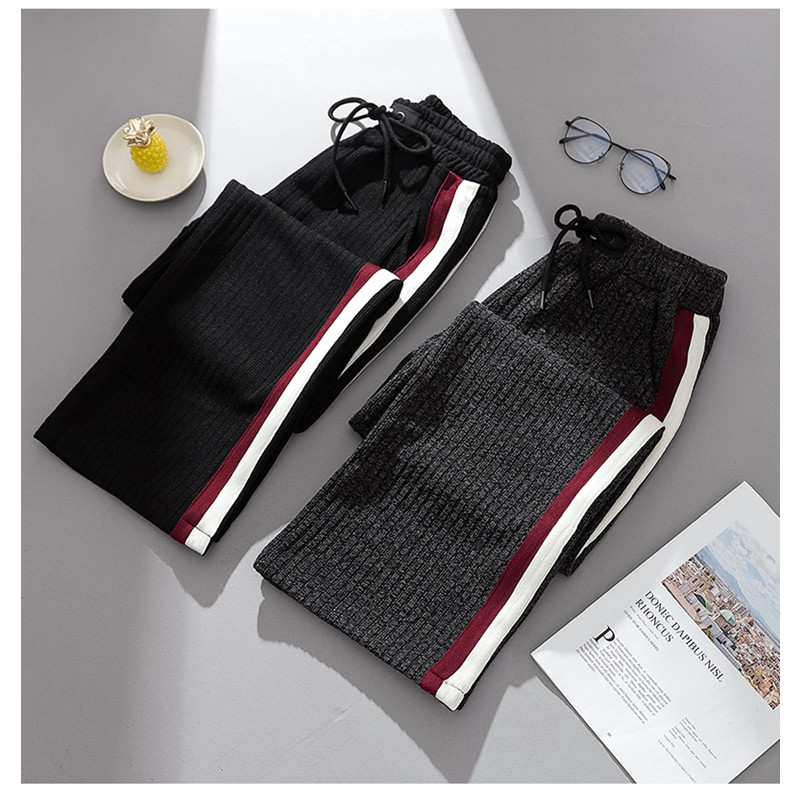 JUJULAND autumn winter new casual straight   pants   women female drawstring loose knitted   wide     leg     pants   casual Trousers 2059