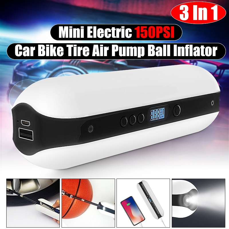 150PSI Portable Electric Air Compressor Bicycle USB Charging Bike Electric Tire Inflator Pump W/ LCD Display Accurate Quick Pump