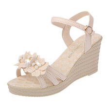 Summer new wedge with fashion ladies sandals increased high-heeled high-heeled flat casual student sandals clear panel two part heeled sandals