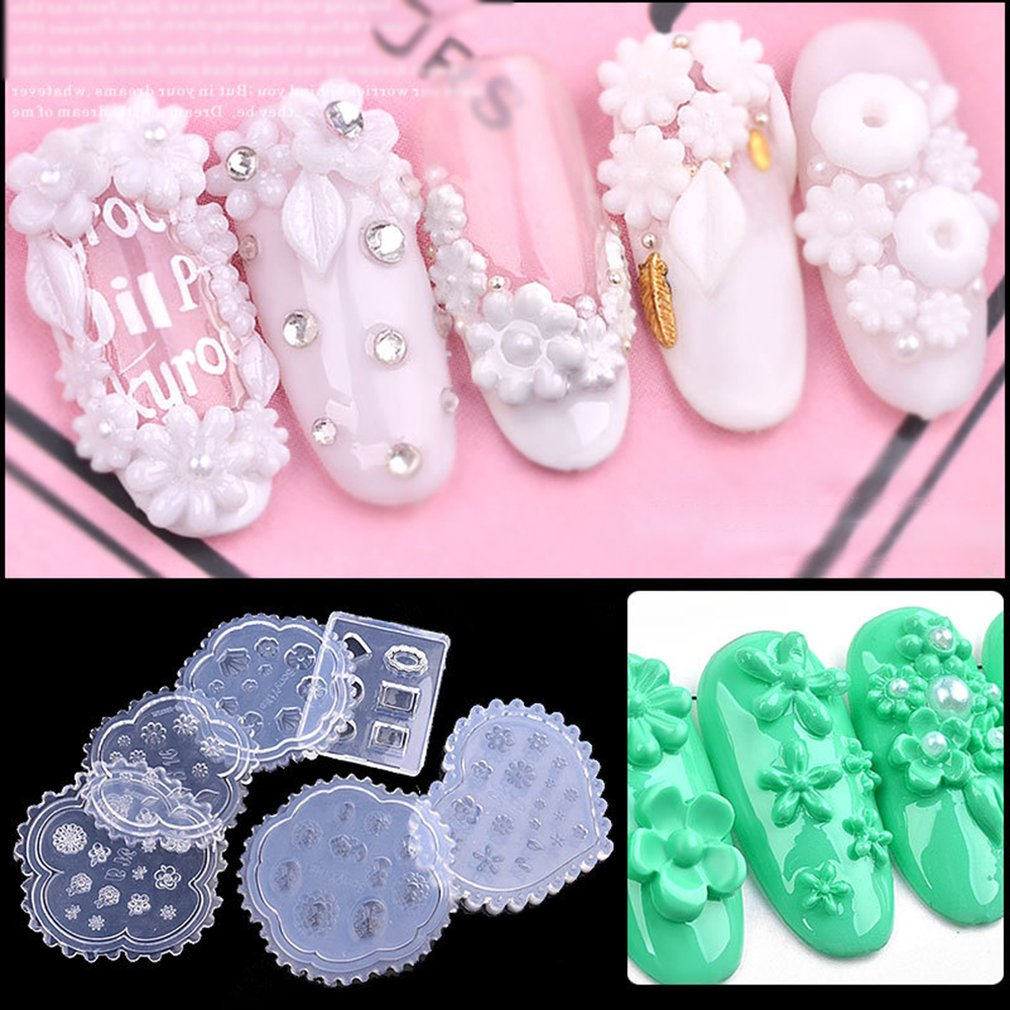 Nail Art Decoration Tools Nail Silicone Mould Popular Relief Abrasives Flowers Daisy Carved Soft Film
