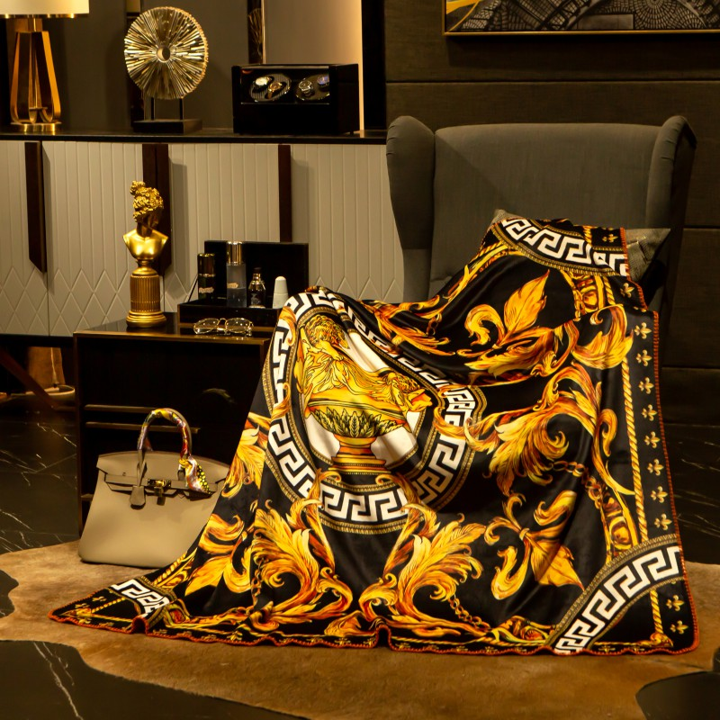 Palace Classic Luxury Blanket Soft Fleece Velvet Sofa Throws Digital Printing Flannel Home Furnishing Decoration