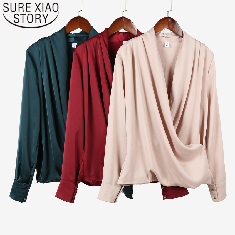 Fashion autumn womens tops and   blouses   2019 long sleeve solid chiffon   blouse     shirts   for women tops V-Neck blusas   shirts   6728 50
