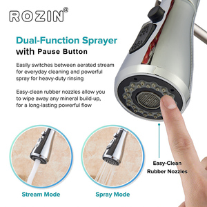 Image 3 - Rozin Brushed Nickel Kitchen Faucet Single Hole Pull Out Spout Kitchen Sink Mixer Tap Stream Sprayer Head Chrome/Black Mixer Tap