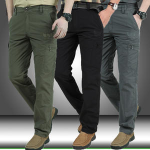 Outwear Cargo-Pants Long-Trousers Multi-Pockets Military Army Straight Mens Casual
