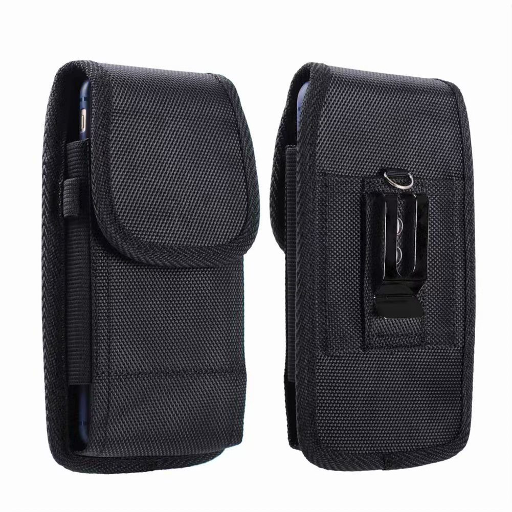Portable Solid Black Phone Pouch Fanny Pack Belt Clip Without Carabiner Hanging Waist Storage Bag Women Men's Outdoor Phone Bag