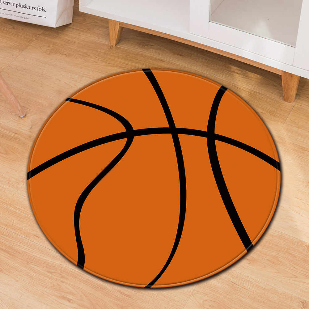 Neue Polyester Anti-slip Ball Runde Teppich Fußball Basketball Computer Stuhl Pad Kissen Büro Stuhl Tür Teppiche Wohnzimmer matte