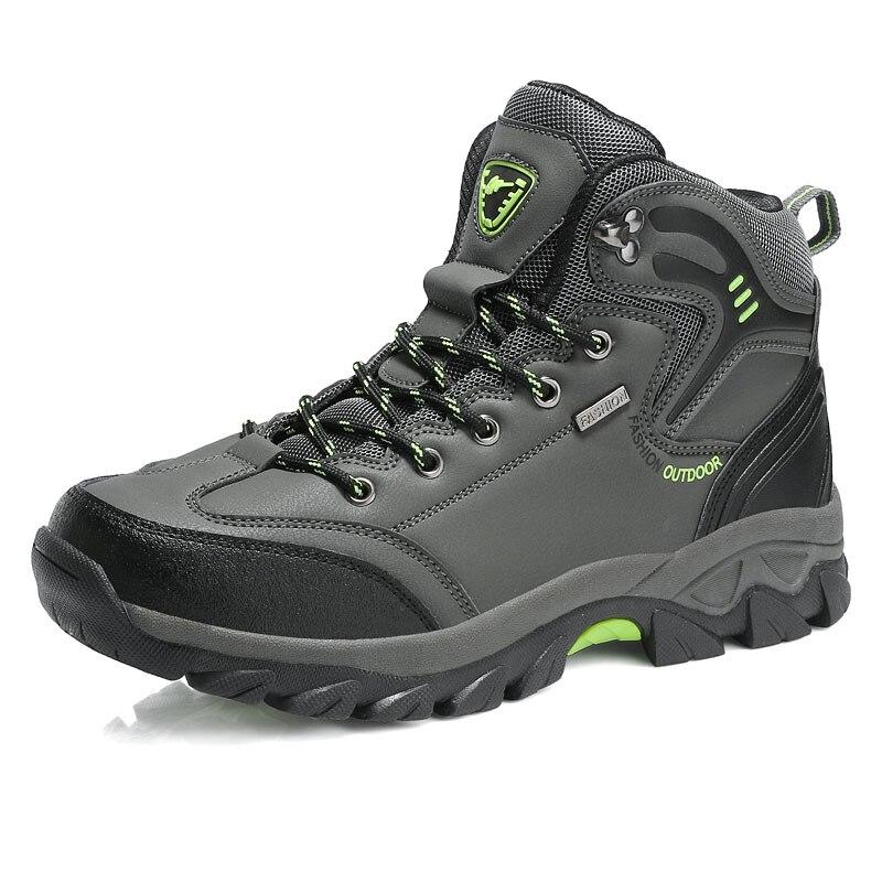 Водонепроницаемые кожаные ботинки на шнуровке; Высококачественная Нескользящая спортивная обувь для охоты и скалолазания; Уличная обувь с высоким верхом; голая Гора - Цвет: Серый