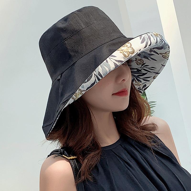 K34 Fashion Summer Big Brim Sun Hat For Female Seaside Sun Protection UV Cap Japanese Wild Fisherman Hat Korean Version 2020 NEW 4