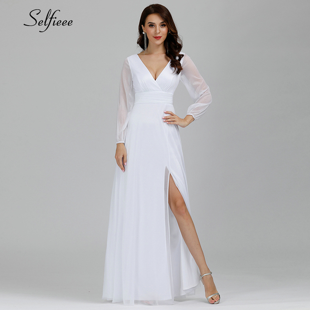 Sexy Maxi Dress A-Line V-Neck Long Sleeve Side Split Ruched Sparkle Formal Party Dress Women Fashion Dress Long Ropa Mujer 2020 5