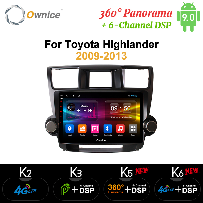 "Ownice K1 K2 K3 10.1 ""autoradio GPS DVD Navi pour Toyota HIGHLANDER 2009 2013 2014 2015 universel Android 9.0 8 core 4G LTE"