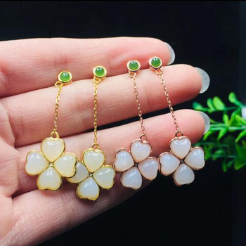 Noble 925 Sterling Silver White Jade Inlay Flower Long Chain Earrings For Women Fine Jewelry