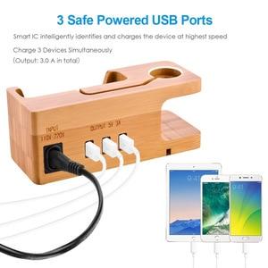 Image 5 - متعددة USB شحن محطة حوض الخيزران الخشب 3 منافذ شاحن الهاتف المحمول جبل حامل ل أبل ساعة آيفون X/8/8Plus/7Plus