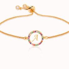 Красочный Радужный Циркон 26 буквенный браслет для женщин Регулируемый начальный браслет Femme ювелирное изделие, цепь в виде змеи рождественские подарки