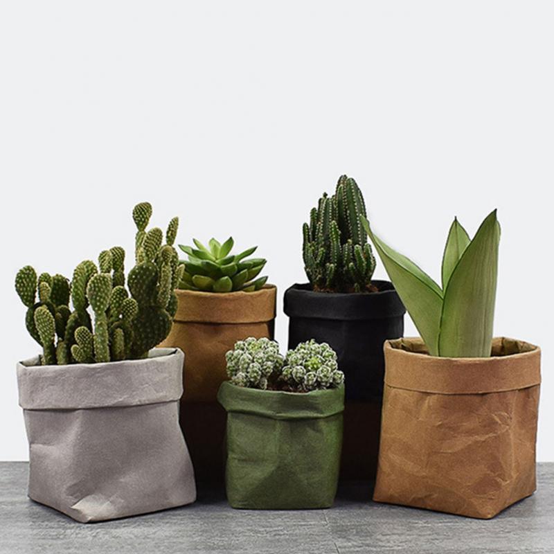 Reusable Mini Succulents Planter Pot Washable Kraft Paper Flowerpot Eco-friendly Desktop Flower Pots Multi-use Home Storage Bag