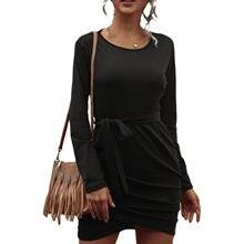 Платье средней длины с высокой талией для женщин однотонное