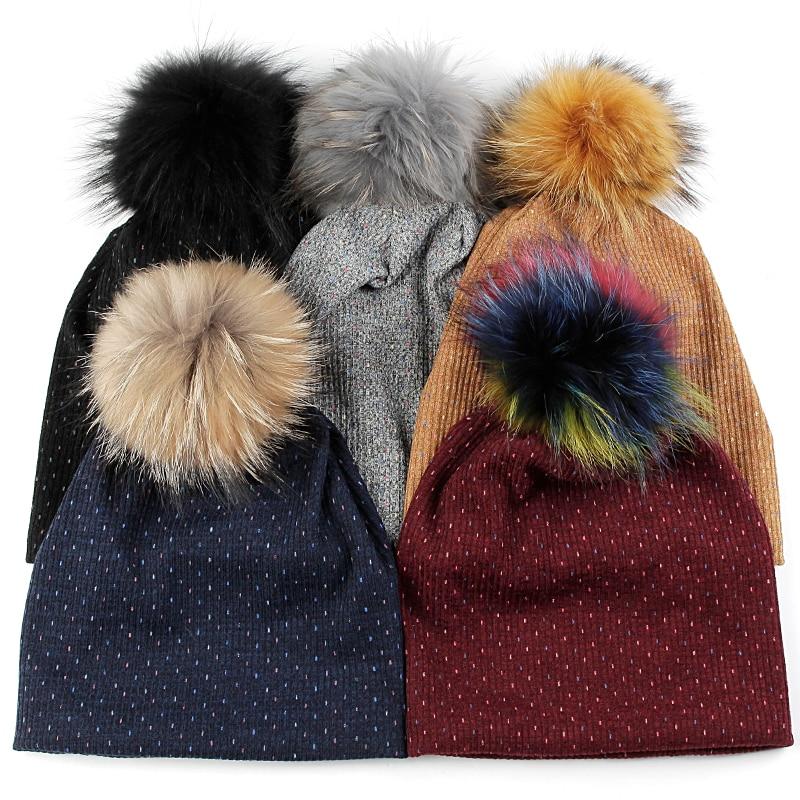 Geebro Women Winter Fashion Warm Soft Beanies Men Autumn Solid Color Skullies Hats Unisex With 15cm Real Fur Pompom Caps Bonnet