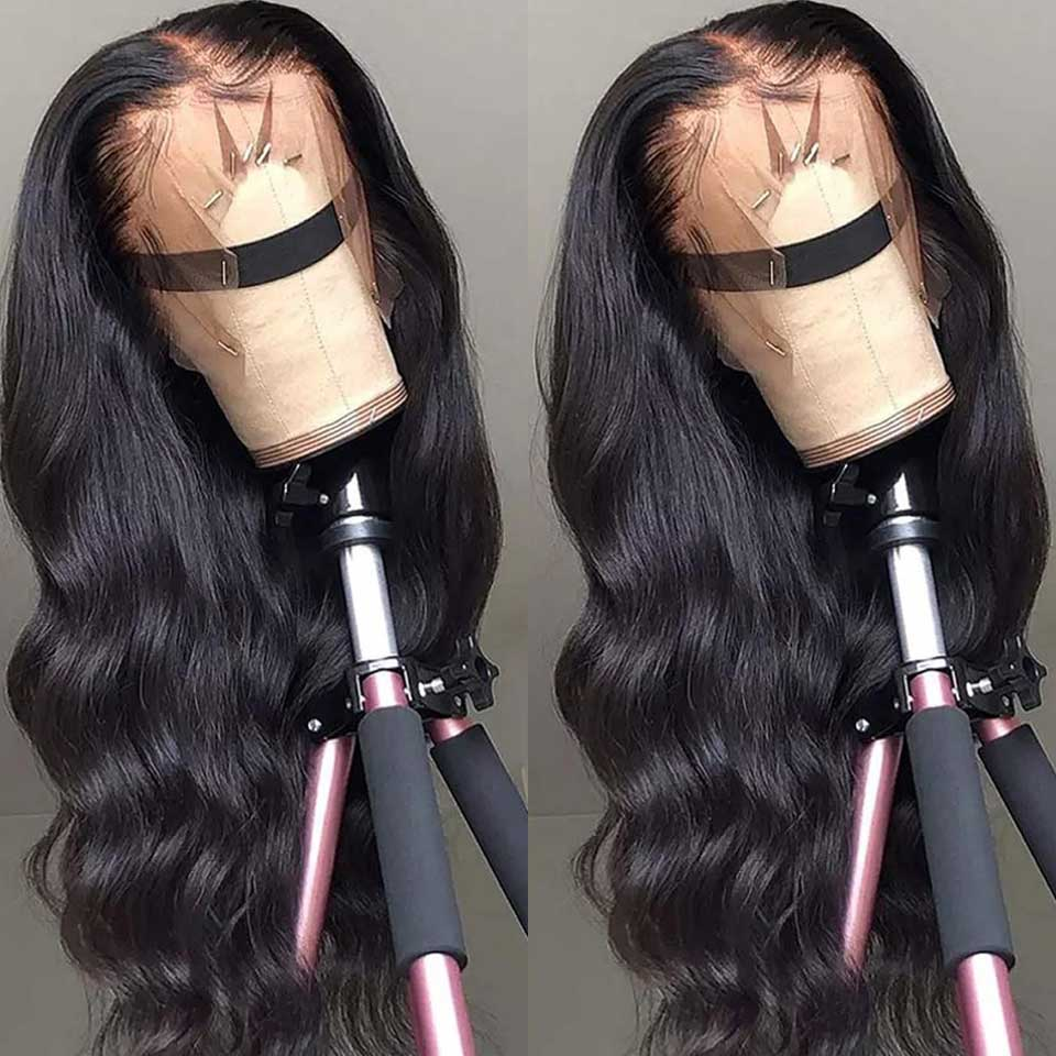 26 28 30 Polegada onda do corpo 360 perucas frontal do laço pré arrancadas com o cabelo do bebê remy brasileiro do cabelo humano 250 densidade peruca dianteira do laço