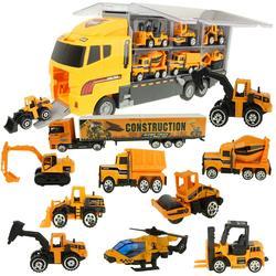 Grote Vrachtwagen & 6Pcs Mini Lichtmetalen Diecast Auto Model 1:64 Schaal Speelgoed Voertuigen Carrier Truck Techniek Auto Speelgoed Voor Kinderen Jongens