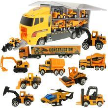 Camión grande y 6 uds. De Mini coche fundido a presión de aleación, modelo a escala 1:64, portador de vehículos, camión, ingeniería, coche, juguetes para niños