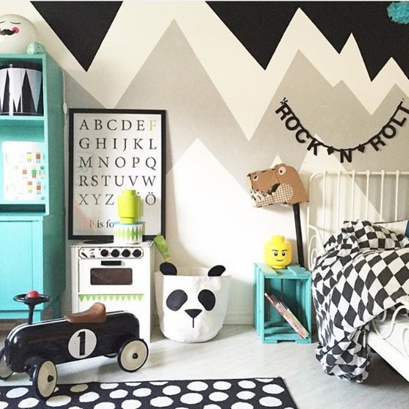 INS Nordic Cute Panda Pattern House Newborn Baby Bedroom Decor Infant Baby Bed Room Sheets Bumper Bag For Toys Kid Birthday Gift