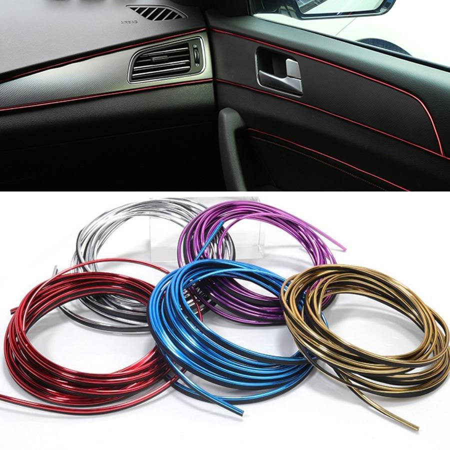 5M CAR Interior DIY Moulding Trim Dashboard Door Edge Insert-in Decoration Strip Line Chrome Styling Accessories Free Scraper