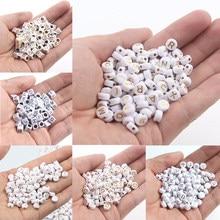 200/300/500 pçs ouro/prata cor letras acrílico contas para jóias marcação redonda/cubo solta contas para artesanal diy pulseira